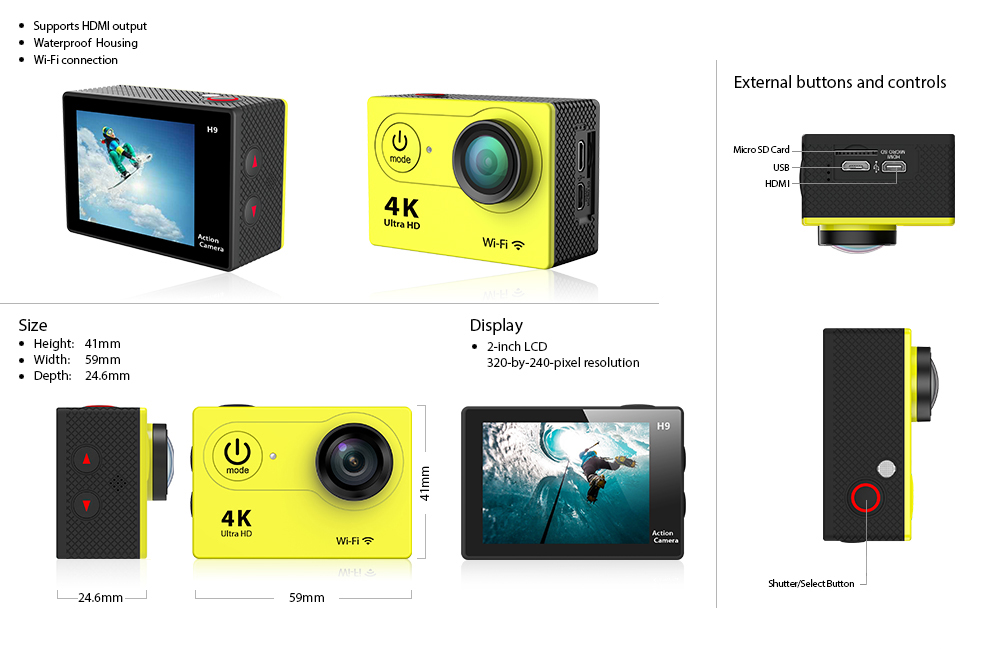 sport camera XH9 specs and buttons